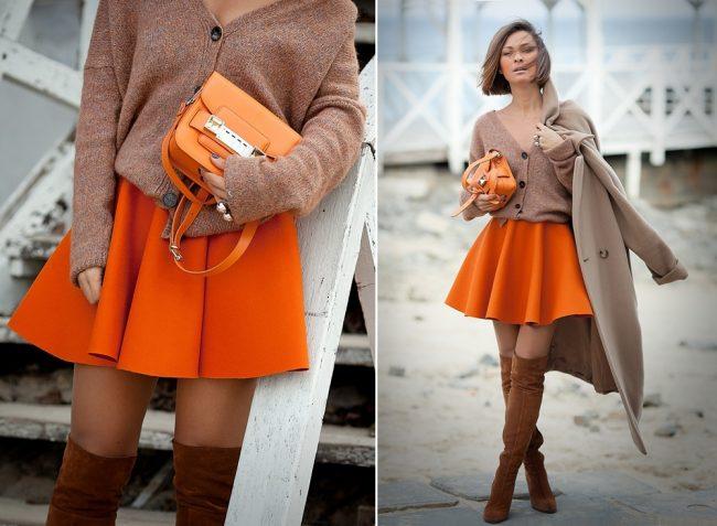 cách phối đồ với túi xách màu cam