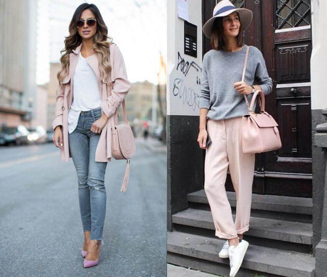phồi đồ với túi xách màu hồng